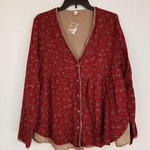 New Yoko Girl red floral babydoll BOHO blouse top
